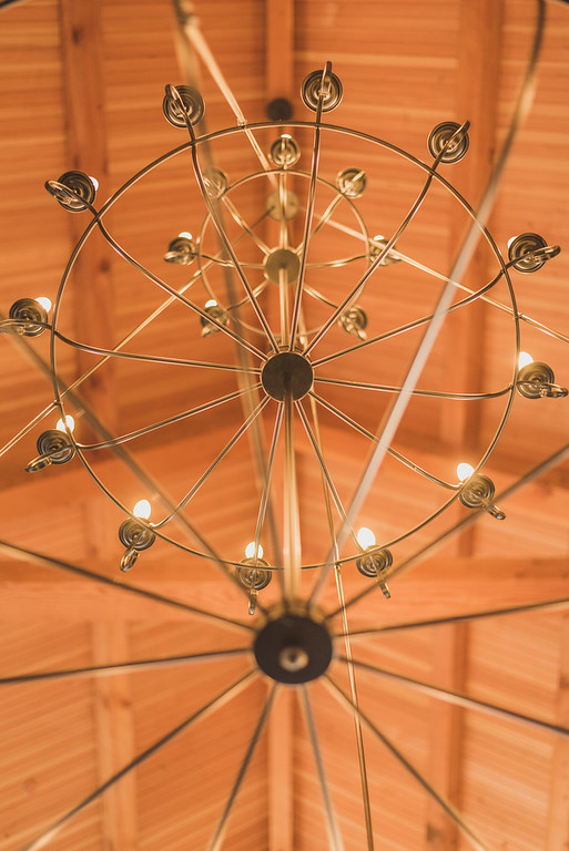 Douglas Fir Ceiling with Chandelier in the Cyderhouse
