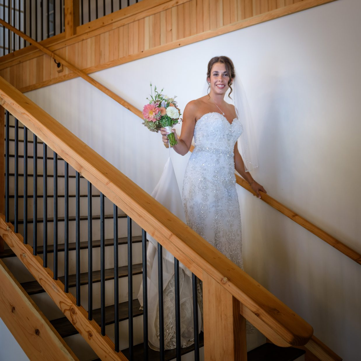 Bride on the Cyderhouse Stairs