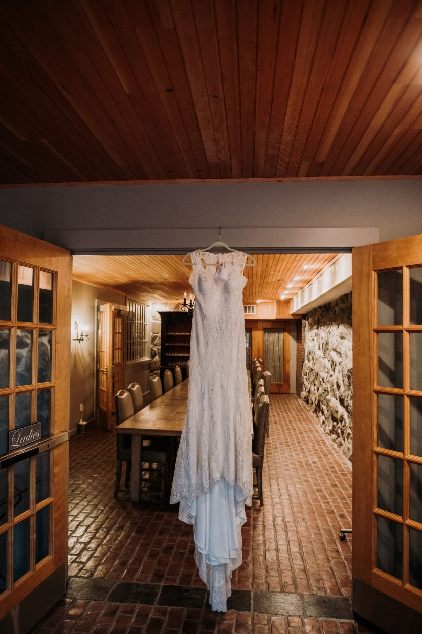 Wedding Dress in Cellar Dining Room